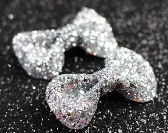 Silver Hair Clip Bows, Glitter, Hair Accessories, Cute Kawaii Bows