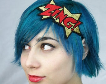 SALE - Gold ZING Headband, Metallic Gold and Red, Comic Book Headband - Christmas In July CIJ