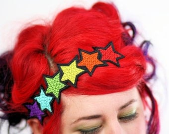 Rainbow Stars Headband, Red, Yellow, Orange, Blue, Purple Or Pastels