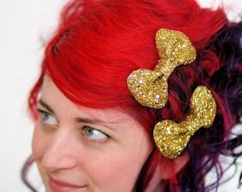 Gold Bow Clips, Glitter, Hair Accessories, Cute Kawaii Bows
