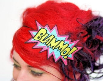 SALE - Blammo comic headband Pink, turquoise and yellow embroidered - Christmas In July CIJ