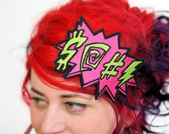 Potty Mouth Comic Headband, Hot pink and lime green