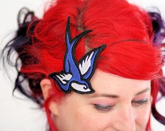 Retro Swallow Headband, Tattoo Style, Royal Blue and White
