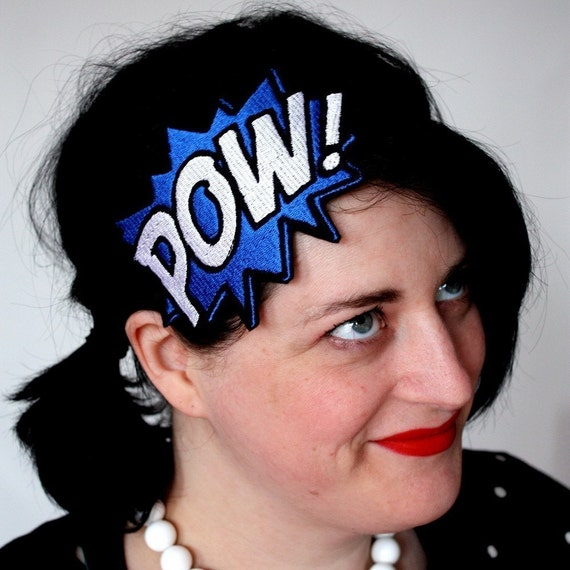 Comic pow embroidered headband hair decoration blue and white