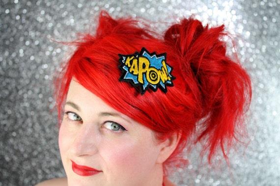 KAPOW Hair Clip, Comic Book Hair Barrette, Teal & Sunshine Yellow