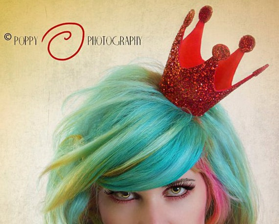 SALE - Queen of Hearts Crown Mini, Red Glitter Crown, Burlesque - Christmas In July CIJ