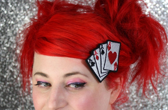 Playing Cards Hair Clip, Aces, Rockabilly Hair Clip- Black FRiday Cyber Monday