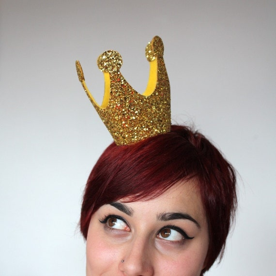 Gold Mini Crown, Glitter, Queen of Hearts
