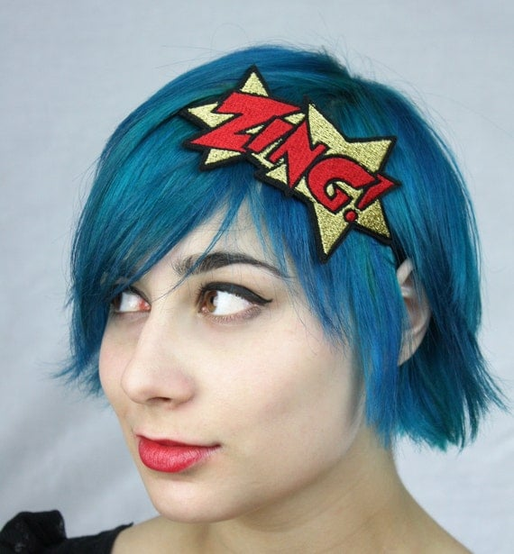 Gold ZING Headband, Metallic Gold and Red, Comic Book Headband