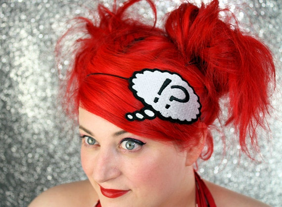 SALE - Thought Bubble Headband, Say What, Question Exclamation Headband - Christmas In July CIJ