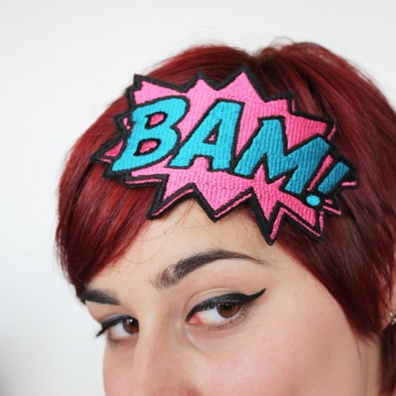 BAM Headband - Comic Cartoon - Pink & Turquoise, Plus Other Colours