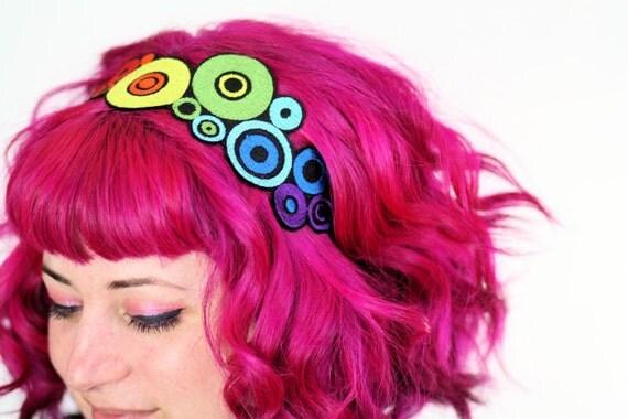 Rainbow Circles Headband, Red, Yellow, Orange, Blue, Purple