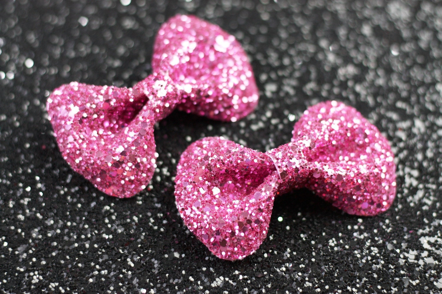 Candy Pink Bow Hair Clips Glitter Hair Accessories by ...