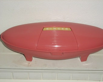 "Vintage pink, Singer buttonhole attachment, space age style, 1960's, cute ""atomic age"" box"