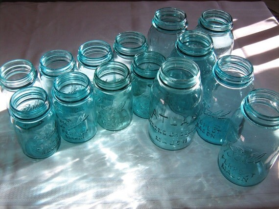 Ball jars, Perfect Mason jars, Atlas jars, aqua blue treasure collection