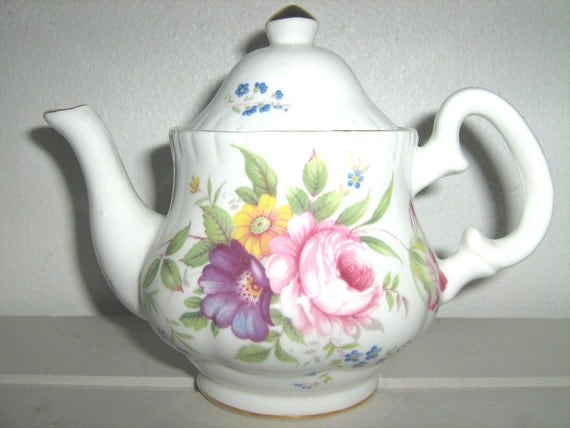 Tea Pot, teatime for one, floral beauty in bone china