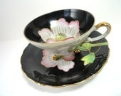 Black Footed Teacup/Tea Cup and Saucer with Hand Painted Flower on Cup and Saucer, Porcelain, Pearlescent
