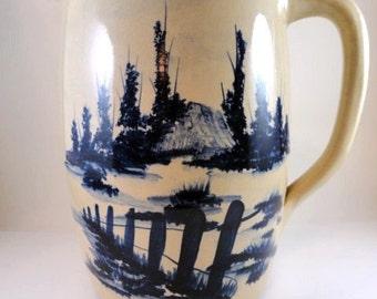 Antique Paul Storie Hand Thrown Stoneware Pitcher/Jug, Cobalt Blue and Beige//Vintage Pottery