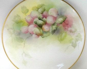 T & V Limoges Plate Artist Signed Hanging Pink Fruit// Antique Porcelain Plate//Vintage Serveware