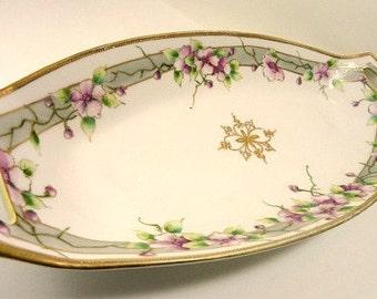 Nippon Morimura Celery Dish Hand Painted Purple Flowers and Gold Moriage, Circa 1911//Vintage Serveware