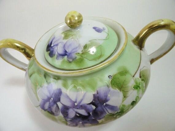 Takito Japan Sugar Bowl Beautifully Hand Painted