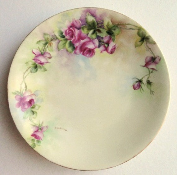 Artist Signed T&V Limoges Plate with Large Pink Roses, Circa 1890's