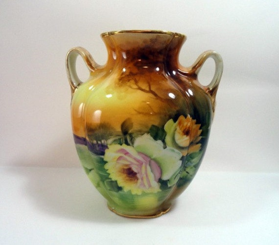 Antique Nippon Morimura Vase with Roses and River Scene