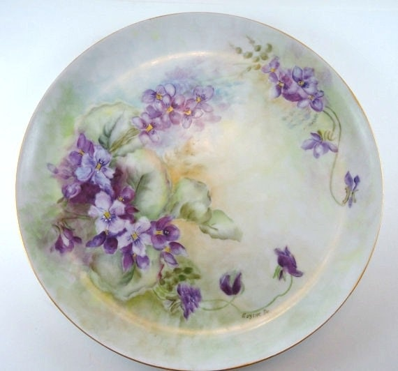 Hand Painted Porcelain Plate from Germany, Artist Signed