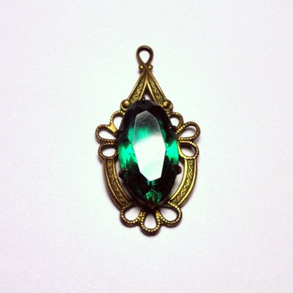 Victorian Emerald Glass Pendant with Brass Filigree