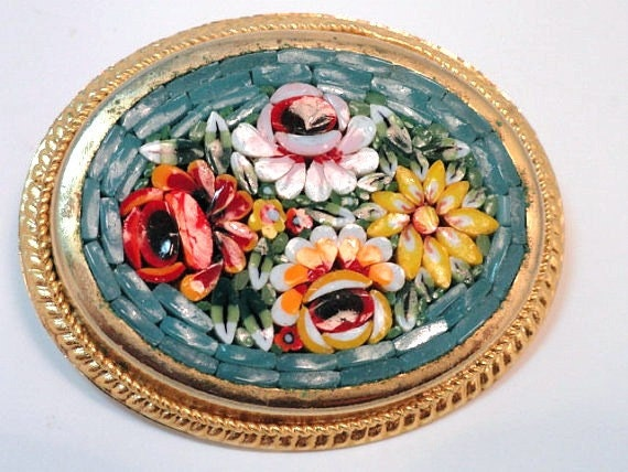 Vintage Micro Mosaic Brooch Great Detailing