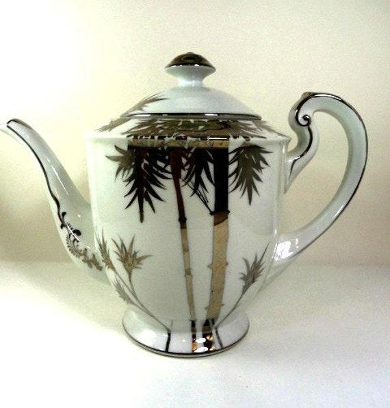 Vintage Bon Tokyo Teapot/Tea Pot with Silver Palm Trees