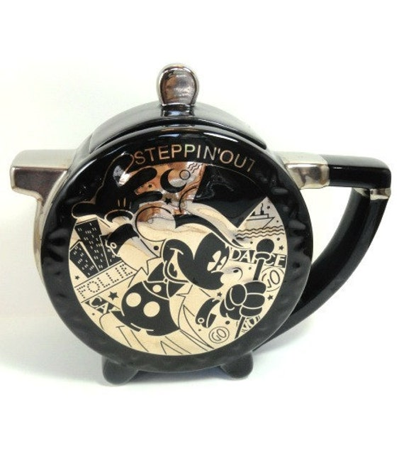 "1970's 'Steppin' Out"" Mickey Mouse Teapot, Footed, Disney, Black and Silver Mirror"