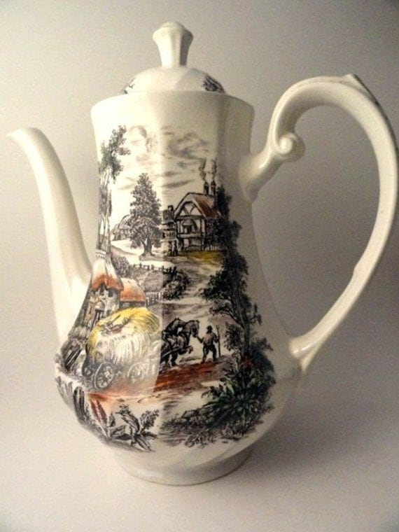 Vintage Yorkshire Staffordshire Coffee Pot Hand Engraved