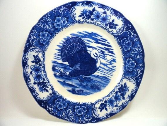 2 Flow Blue Turkey Plates, UCG Japan