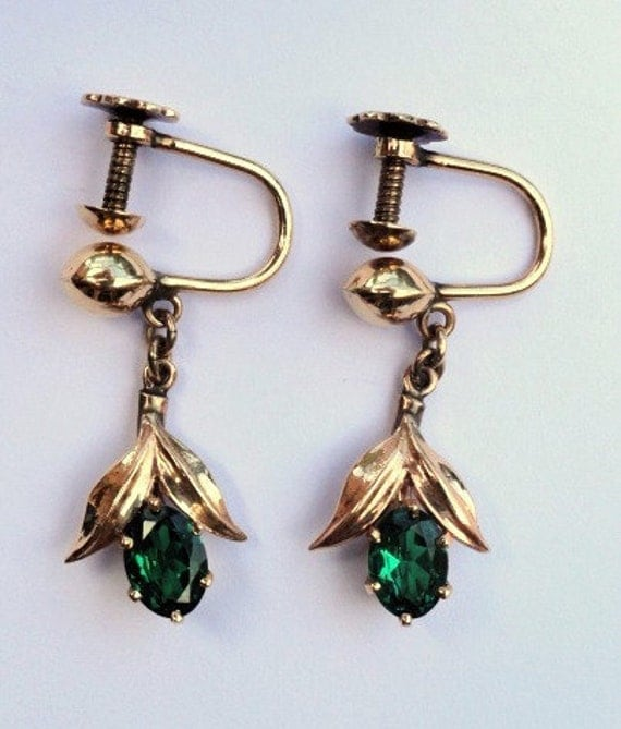 18K Yellow Gold and Faux Emerald Earrings Oval Shape Brilliant Cut