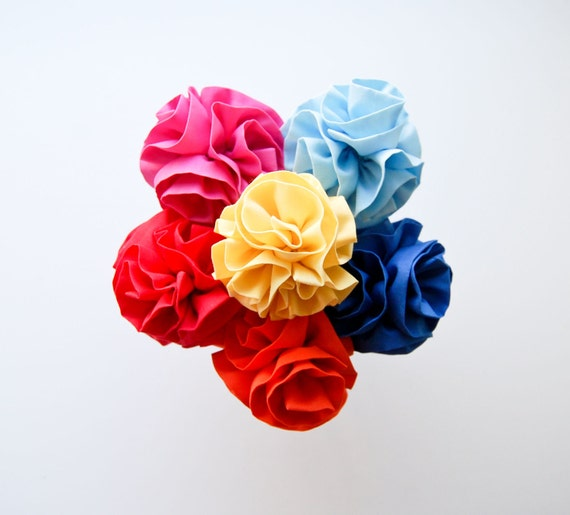 fabric flower pom cupcake toppers. set of 6. custom