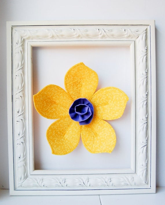 fabric wall flower. 3d wall art.  wall decor.  golden yellow