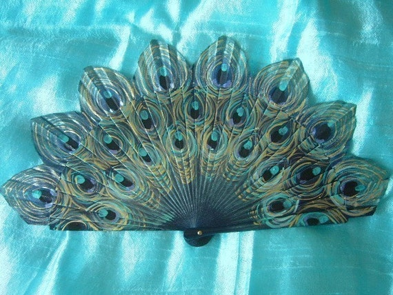 peacock hand painted spanish fan FREE SHIPPING