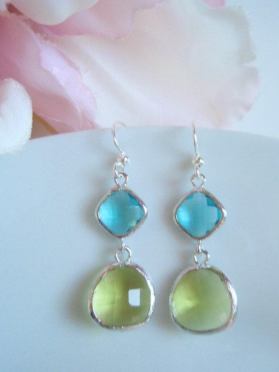 White Gold Framed - Double Drop - Sea Green and Apple Green Czech Glass Earrings