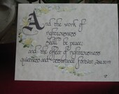 Folded Note Card Bible Verse Calligraphy, set of 5 with envelopes, Isaiah 32, vs 17