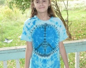 Peace Kid's Blue Tie Dye shirt, youth small