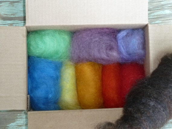 RESERVED Over 2ozs LL Wool Rainbow Roving with bonus stuffing for saturdaywithsven