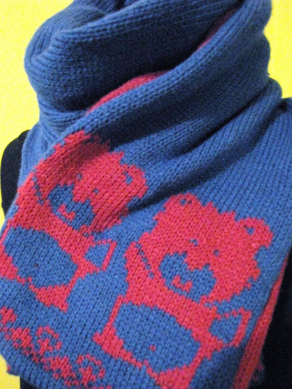 Fair Isle Handmade Knit Teddy Bear Scarf by wonderwearknits