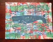 Whale Block Print, Test Print Linocut, Hand Pulled, 8x10 Inches