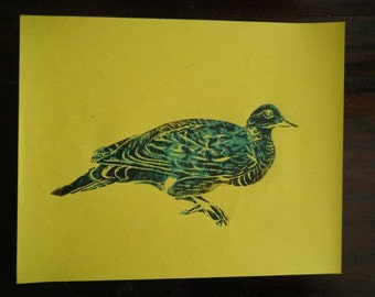 Dove Print, Hand Pulled, Block Print, 8x10 Inches