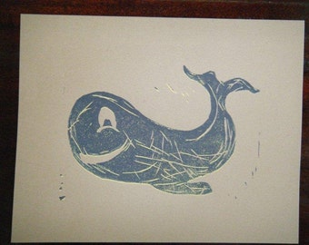Little Whale Linocut Print, Hand Pulled, 8x10 Inches