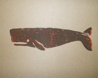 Whale Linocut Print, Block Print, Hand Pulled, 8x10 Inches