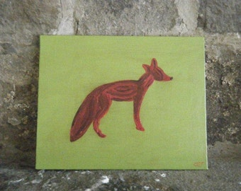 Fox Painting On Canvas Panel 8x10 Inches Using Stencil