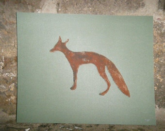 Fox Linocut Block Print 8x10 Inches on Dark Green Cardstock
