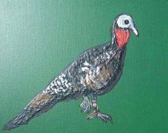 Wild Turkey Painting with Green Background on 10x10 Inch Canvas